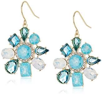 "Carolee Cracked Stone"" Irregular Cluster Drop Earrings"