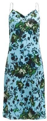 Erdem Vivianne Rose Print Satin Slip Dress - Womens - Blue Multi