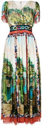 Dolce & Gabbana long printed flared dress