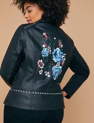 Lane Bryant Studded & Embroidered Faux Leather Moto Jacket