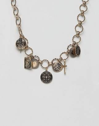 Asos DESIGN statement necklace with vintage style charms and icon pendants in gold
