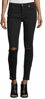 7 For All Mankind The Ankle Skinny Ripped Jeans, BAir Black $179 thestylecure.com