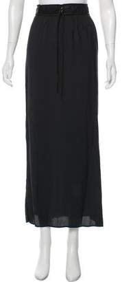 Helmut Lang Leather Trimmed Maxi Skirt