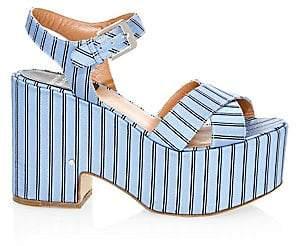 Laurence Dacade Women's Helissa Striped Canvas Platform Sandals