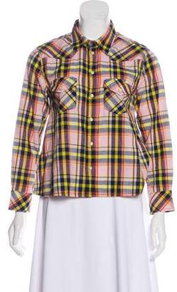 Mother Check Button-Up Top