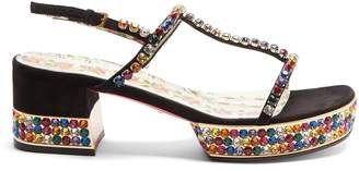 Gucci Mira crystal-embellished suede sandals