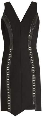 Thierry Mugler Leather Panelled V Neck Wool Blend Dress - Womens - Black