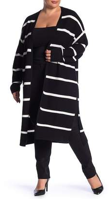 Lafayette 148 New York Striped Open Front Cardigan (Plus Size)