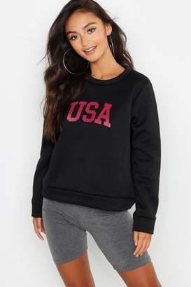 boohoo Petite USA Slogan Sweat Top