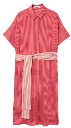 MANGO Bow fine-stripe dress
