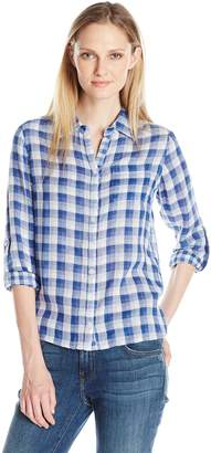 Caribbean Joe Women's Three Quarter Sleeve Plaid Top