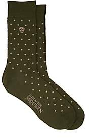 Alexander McQueen MEN'S SKULL-MOTIF POLKA DOT COTTON-BLEND SOCKS-GREEN