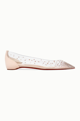 Christian Louboutin Degrastrass Embellished Pvc And Leather Point-toe Flats - Ivory