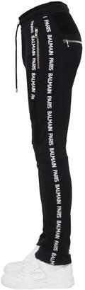 Balmain Cotton Biker Sweatpants W/ Logo Bands