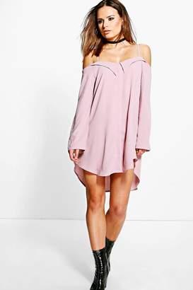 boohoo Off Shoulder Eyelet Shirt Dress