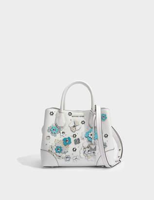 MICHAEL Michael Kors Mercer Gallery Small Center Zip Satchel Bag in Optic White Mercer Pebble Leather