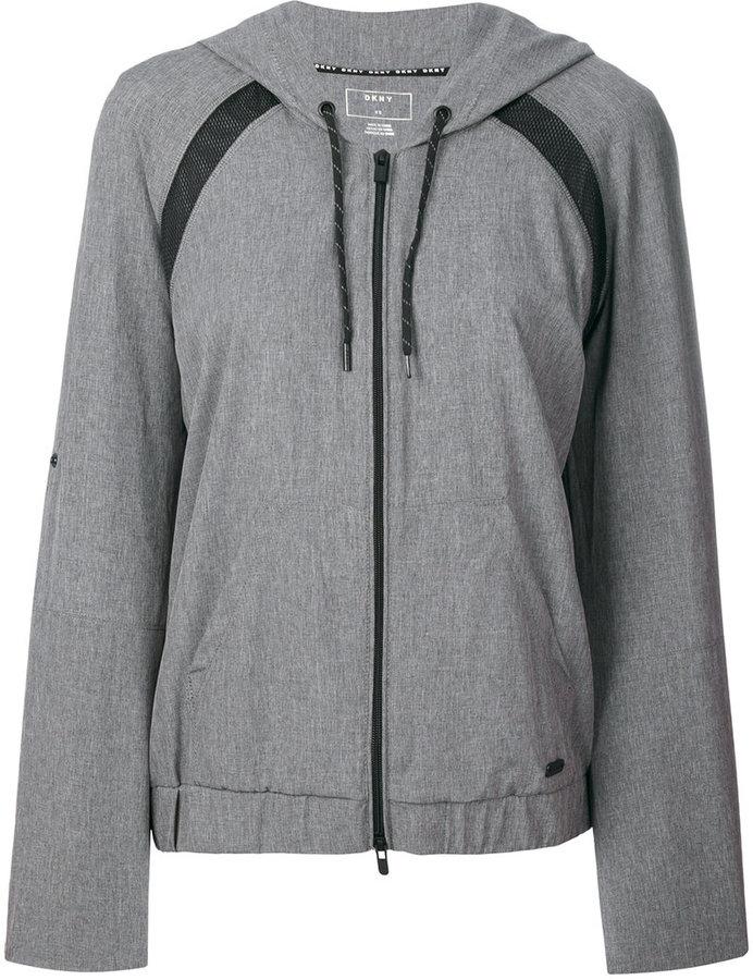 DKNY mesh inset zipped hoodie
