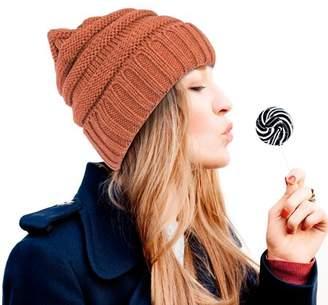 74bea1d3f0e Zodaca Beanie Hat for Women by Fashion Unisex Wavy Warm Winter Beanie  Stretchy Knit - Copper