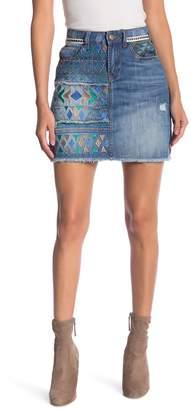 Desigual Segovia Embroidered Pattern Denim Skirt