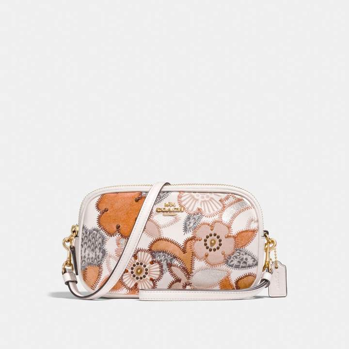 Coach New YorkCoach Crossbody Clutch With Patchwork Tea Rose And Snakeskin Detail - CHALK MULTI/LIGHT GOLD - STYLE