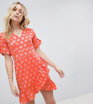 Glamorous Tall Mini Dress With Asymmetrical Frill Hem And Tie Waist In Jacquard