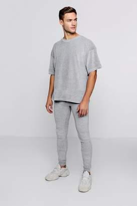 boohoo Oversized Velour T-Shirt & Jogger Set