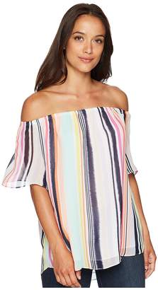 London Times Off Shoulder Swing Sleeve Top Women's Clothing