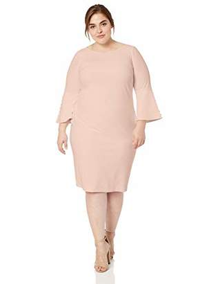 Calvin Klein Women's Plus Size Solid Sheath with Detailed Bell Sleeve Dress