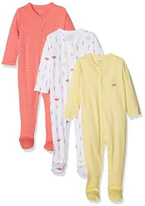 Mamas and Papas Baby Girls' Pack of 3 Umbrella Sleepsuits Sleepsuits,Pack of 3