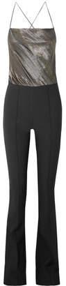 Haney - Mia Silk-blend Lamé And Crepe Jumpsuit - Black