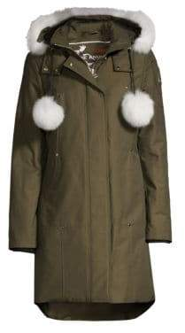 Moose Knuckles Women's Stirling Blue Fox Fur-Trim& Pom Pom Down Parka - Army - Size Large