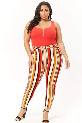 Forever 21 Plus Size Striped Skinny Jeans
