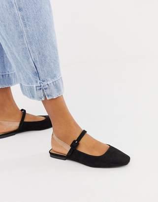 clear ASOS DESIGN Littleton strap square toe ballet flats