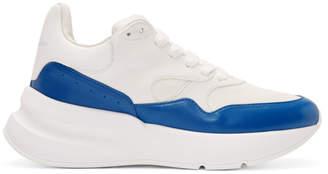 Alexander McQueen White and Blue Oversized Runner Sneakers