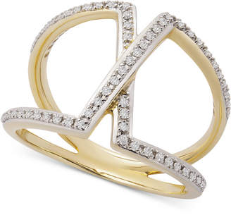 Wrapped Diamond Overlap Statement Ring (1/4 ct. t.w.) in 14k Gold