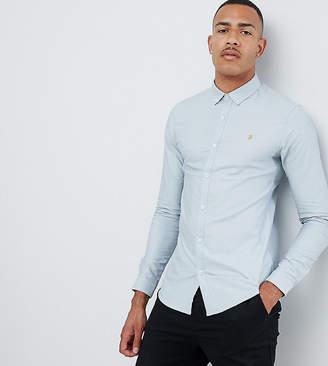 Farah Sanfers skinny fit buttondown oxford shirt in blue