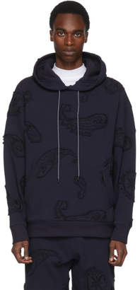 Wooyoungmi Navy Paisley Embroidery Hoodie