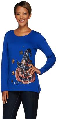 Factory Quacker Witching Hour Sequin and Beaded Long Sleeve T-Shirt