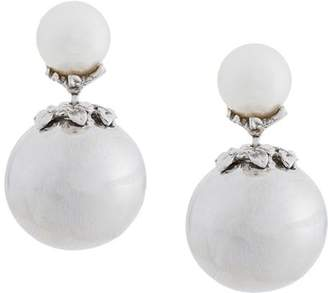 Kasun London orb and pearl stud earrings
