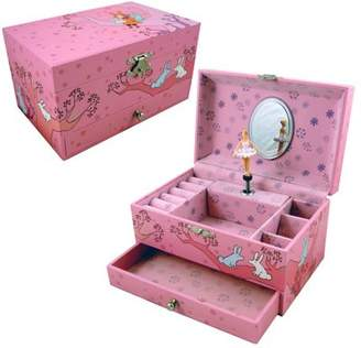 Trousselier Girls Musical Jewellery Box, Pink - Girl Sitting In Tree