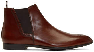 Prada Brown Leather Chelsea Boots