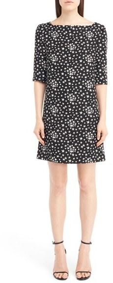 Saint LaurentWomen's Saint Laurent Star Print Crepe Shift Dress