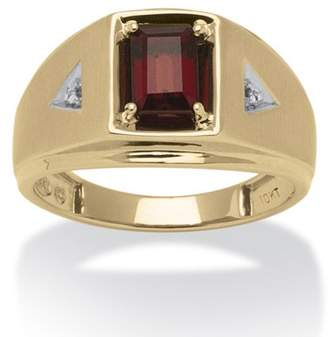 PalmBeach Jewelry Palm Beach Jewelry Men's 1.20 TCW Emerald-Cut Genuine Garnet and Diamond Accent Ring in 10k Gold