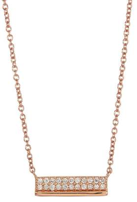 Bony Levy 18K Rose Gold Diamond Pave Bar Necklace - 0.09 ctw