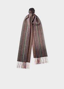 Men's Muted 'Signature Stripe' Cashmere Scarf