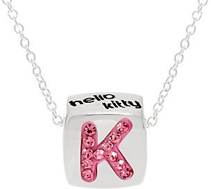 "As Is Hello Kitty Crystal and Enamel Initial Pendant w/18"" Chain $6.75 thestylecure.com"