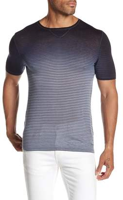 John Varvatos Crew Neck Short Sleeve Ombre Stripe Print Tee