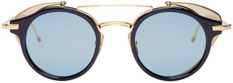Thom Browne Navy & Gold Visor Sunglasses $875 thestylecure.com