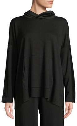 Eileen Fisher Velvet-Trim Hooded Terry Pullover Sweatshirt, Plus Size