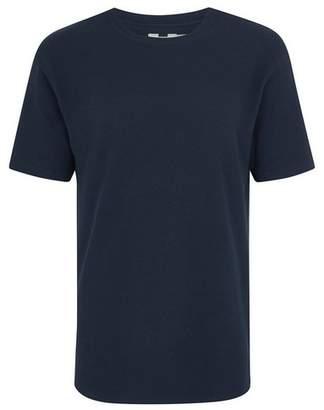 Topman Mens Navy Slim Waffle T-Shirt